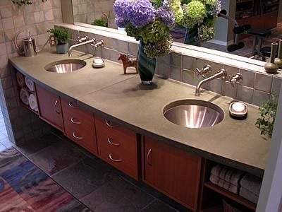 Curved, Double Sink Site Liquid Stone Designs Lenexa, KS