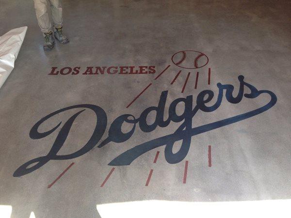 Dodgers Logo, Concrete Stencil Site Los Angeles Concrete Polishing Torrance, CA