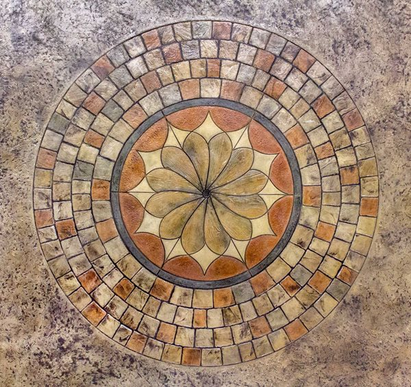 Stamped Lotus Blossom Medallion Site Brickform Rialto, CA