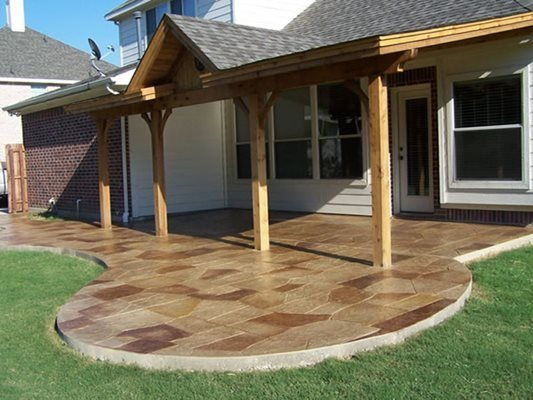 Stamped, Stained, Concrete Patio Site Deck-O-Art Inc. McKinney, TX