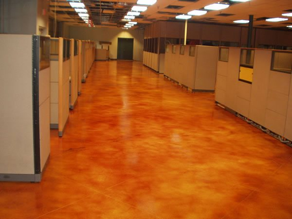 Red Mottled Stained Concrete Concepts In Concrete Inc Bristol, PA