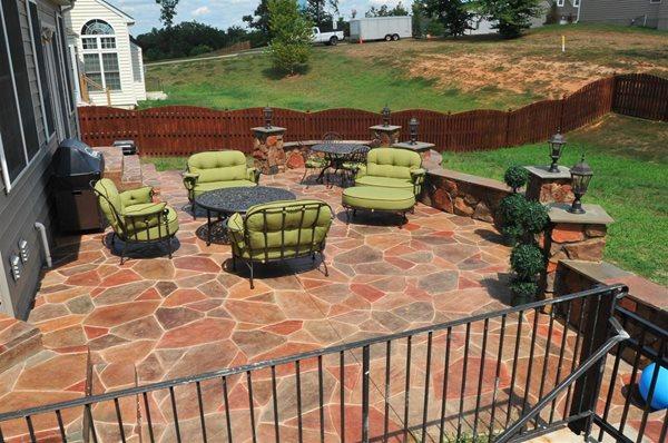 Residential Stamped Concrete Patio Stained Concrete Salzano Custom Concrete Aldie, VA