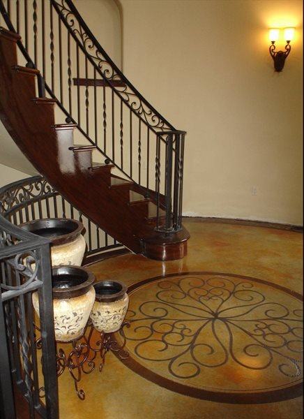 Stenciled, Entryway Stained Concrete Image-N-Concrete Designs Larkspur, CO