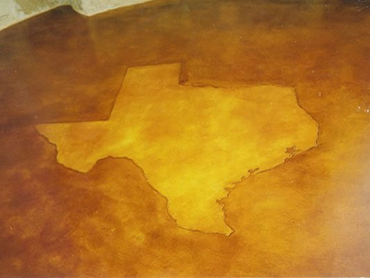 Texas, Stained Concrete, Brown Stained Concrete Transitional Stains Azle, TX
