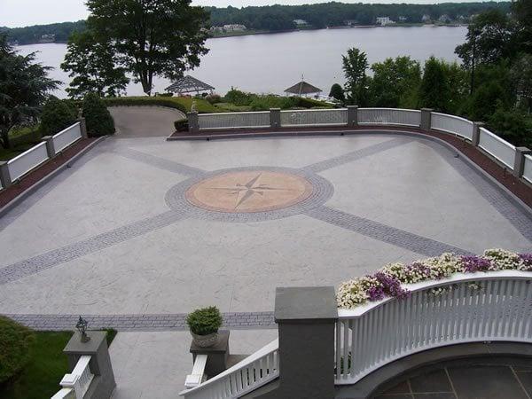 Belgian Block, Compass Design Stamped Concrete Beyond Concrete Keyport, NJ