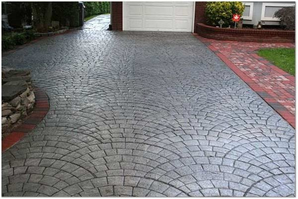 Charcoal, Silver Stamped Concrete Starburst Concrete Design Brewster, NY