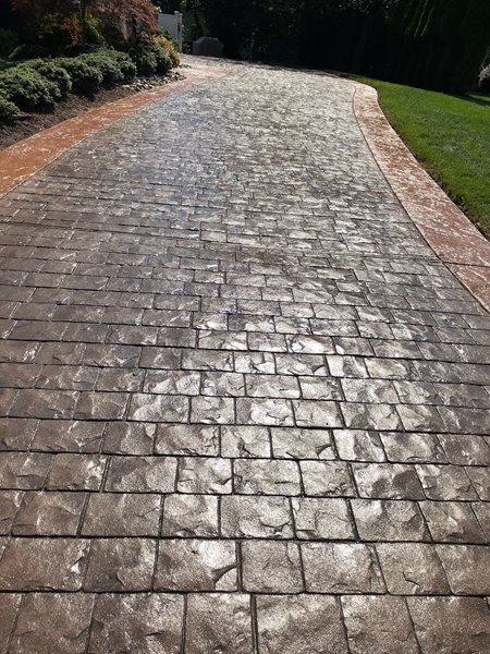 Color Correction, Stamped Driveway Stamped Concrete A1A Concrete Design Norfolk, VA