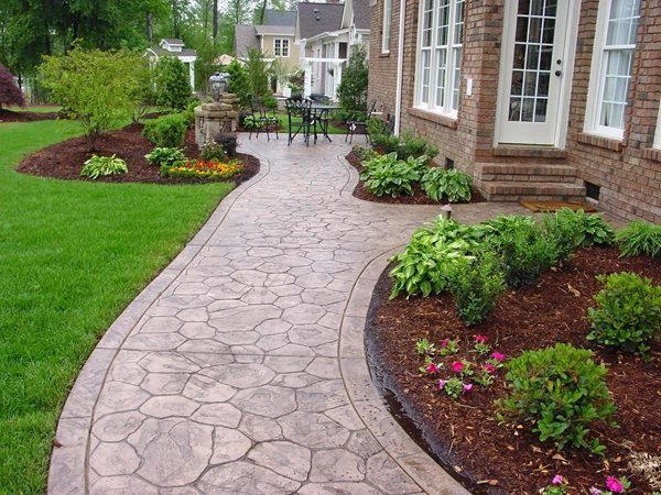 Concrete Sidewalk, Stamped, Cobble Stone Stamped Concrete QC Construction Products Madera, CA