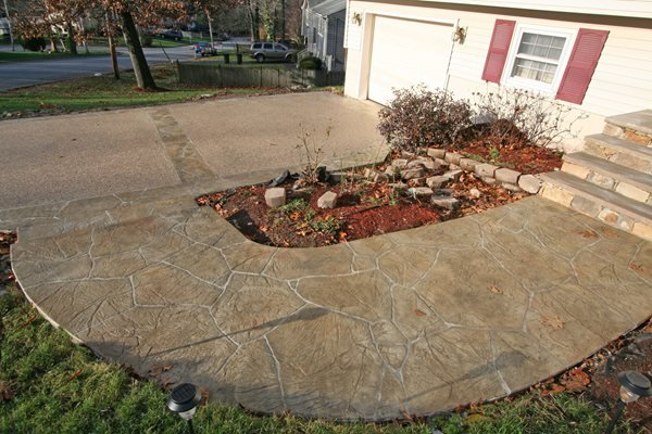Flagstone, Tan Stamped Concrete New England Hardscapes Inc Acton, MA
