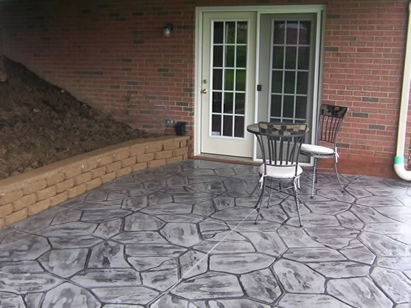Flower Rock, Gray Stamped Concrete Curbscapes Finleyville, PA