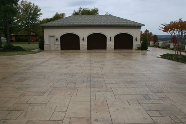 Garage, Parking, Stamped, Stone Stamped Concrete Ozark Pattern Concrete, Inc. Lowell, AR