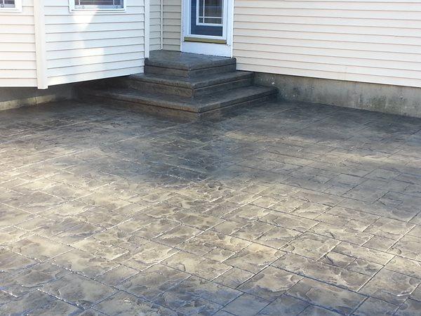Gray Stamped Concrete, Ashlar Slate Stamped Concrete Vaillancourt Concrete & Construction Milford, NH