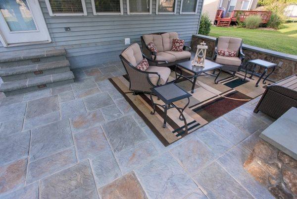 Multicolor Stamped Concrete, Walls Stamped Concrete Salzano Custom Concrete Aldie, VA