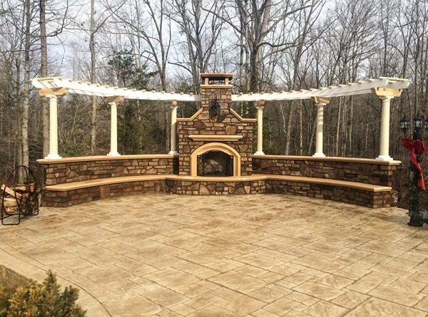 Patio Fireplace, Pergola, Seating, Stamped Stamped Concrete Greystone Masonry Inc Stafford, VA