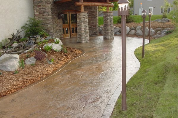Polished, Stained Stamped Concrete Verlennich Masonry and Concrete Staples, MN
