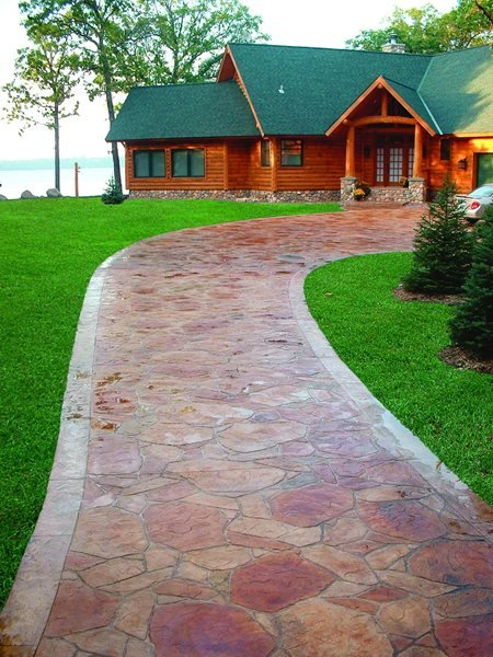 Red, Flagstone Stamped Concrete Verlennich Masonry and Concrete Staples, MN