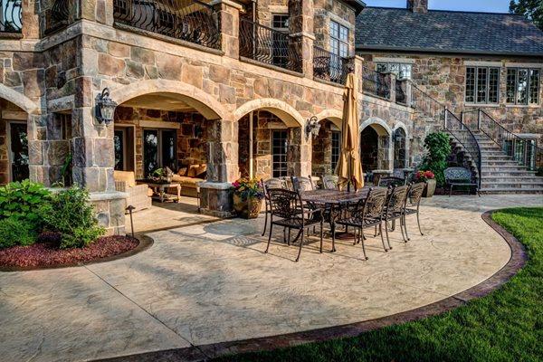 Seamless Stamped Patio, Patio Border Stamped Concrete J&H Decorative Concrete LLC Uniontown, OH