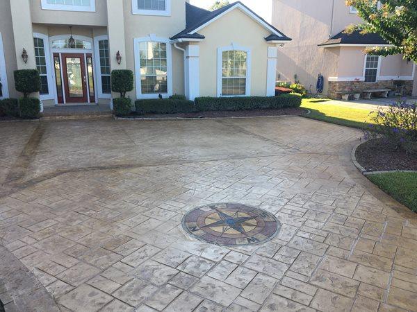 Stamped Concrete, Compass Rose Stamped Concrete Artistic Concrete Orange Park, FL