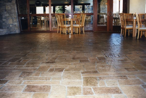 Stamped Concrete Floor, Patterned Floor, Random Pattern Floor Stamped Concrete Concrete Solutions Products by Rhino Linings® San Diego, CA