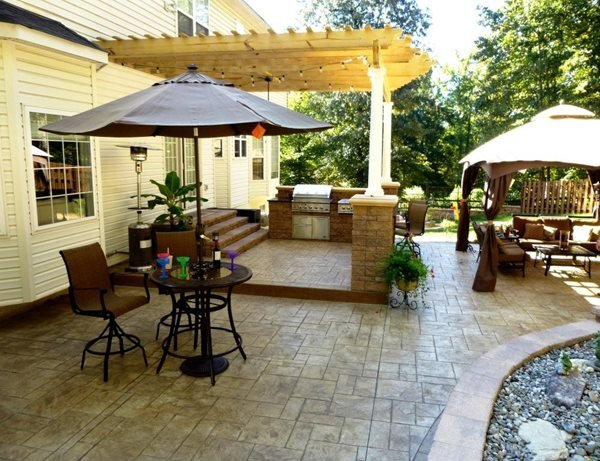 Stamped Concrete Outdoor Entertaining Area Stamped Concrete Greystone Masonry Inc Stafford, VA