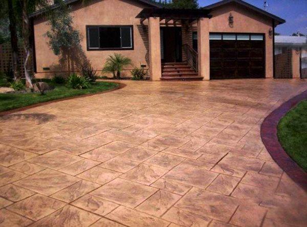 Stamped Driveway Texture Stamped Concrete Color Cap Concrete Coatings, Inc. Sherman, TX