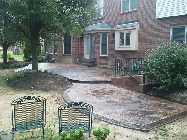 Stamped Flagstone Patio, Brown Border Stamped Concrete Todd Helm Construction Burlington, KY