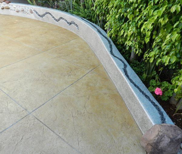 Stamped Patio, Concrete Wall, Colored Stamped Concrete Visions Below Laguna Niguel, CA