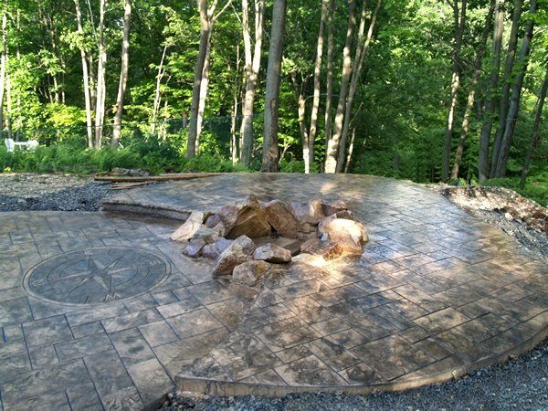Stamped Patio, Stone Fire Pit Stamped Concrete All American Concrete Form Inc Slatington, PA