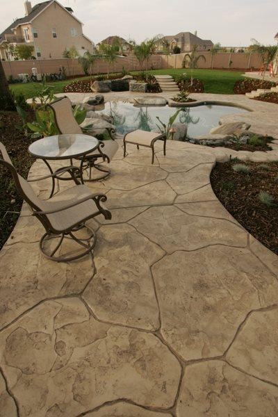 Stone, Tan Stamped Concrete Heritage Bomanite Fresno, CA