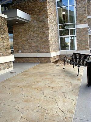 Tan, Stone Stamped Concrete Colorado Hardscapes Denver, CO