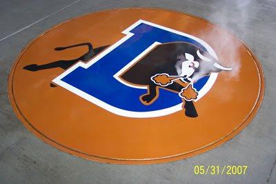 Logo, Orange Stenciled Flooring Classic Concrete Design Durham, NC