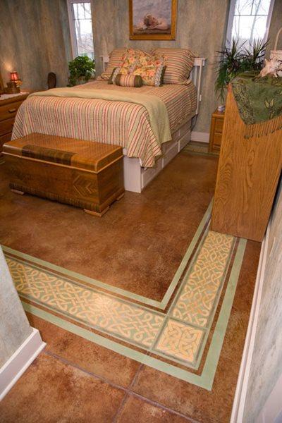 Orange Stain, Bedroom Floor Stenciled Flooring Artistic Walls Ventura, IA