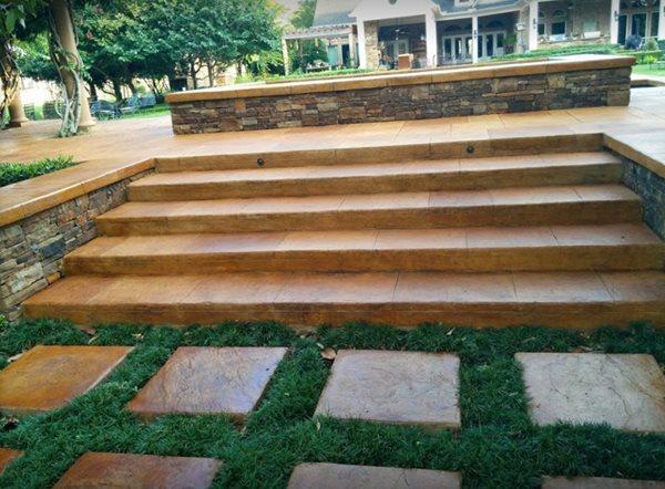 Concrete Steps, Concrete Stairs, Concrete, Stairs, Steps, Landscape Design Steps and Stairs Angel's Concrete Design Services Houston, TX