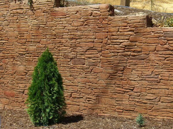 Stamped Retaining Wall Vertical Stamping California Decorative Concrete El Dorado Hills, CA