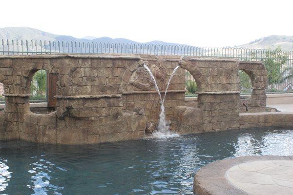 Concrete Aqueduct, Concrete Pool Feature Water Features Authentic Environments Huntington Beach, CA