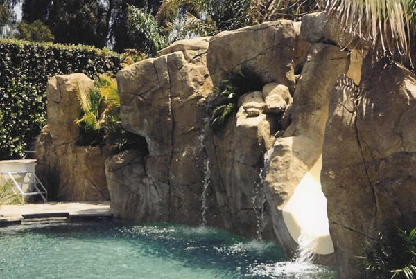 Concrete Water, Concrete Rock Wall Water Features Authentic Environments Huntington Beach, CA
