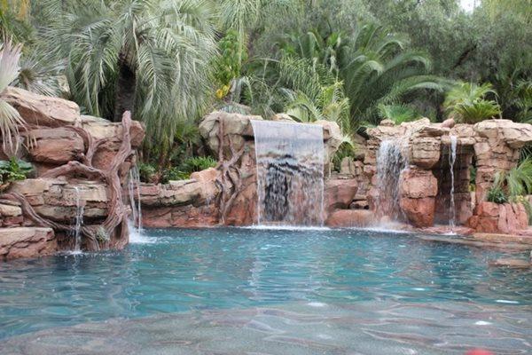 Faux Waterfall, Pool Waterfalls Water Features Matrix Concrete Artisans Oceanside, CA