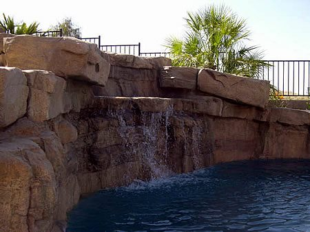 Pool Waterfall, Waterfall Water Features Pristine Concrete LLC Paso Robles, CA