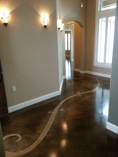 Stained Floor Scrollwork Artistic Concrete Decorative Crete-Worx Grand Prairie, TX