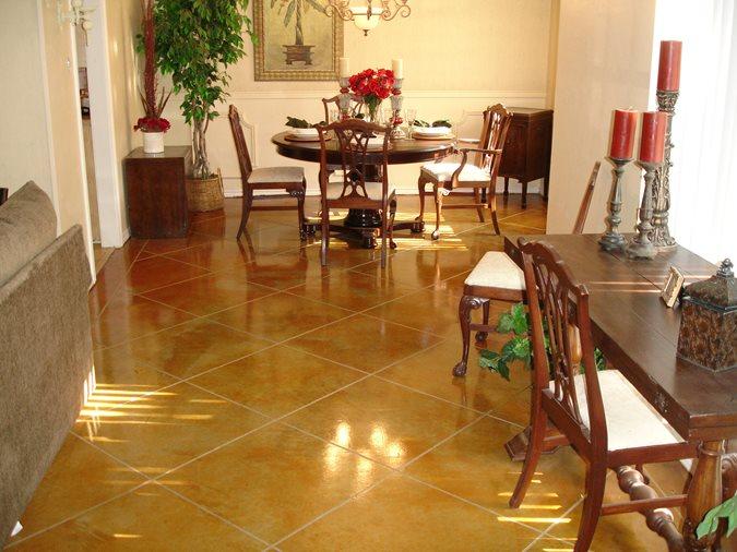 Caramel, Scored Brown Floors Texas Concrete Engravers Grapevine, TX