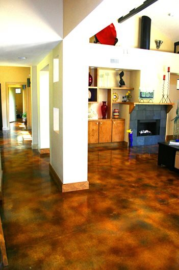 Molted, Sponged Brown Floors Stained Concrete by Peyton & Associates Montgomery, TX