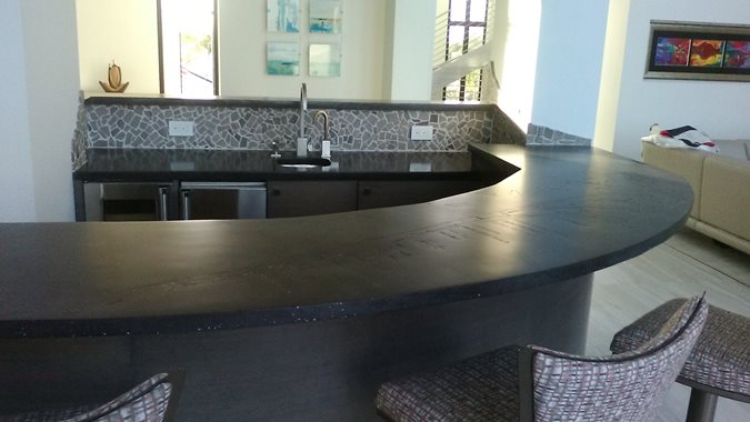 Black Countertop, Curved Bar Concrete Countertops Coulter Designs Vero Beach, FL