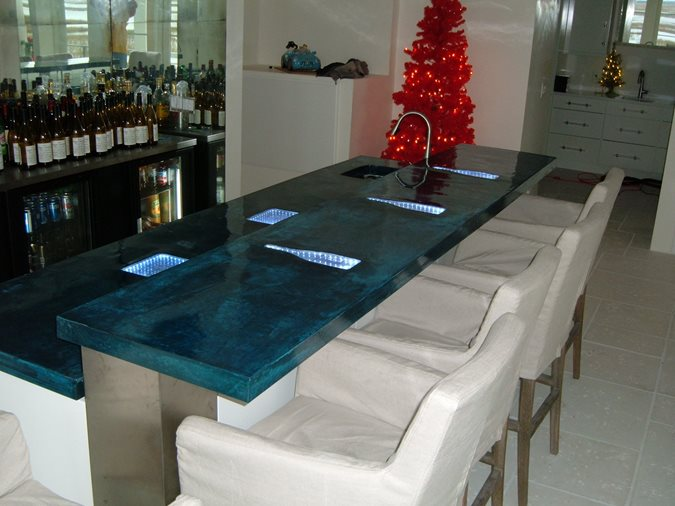 Blue Concrete Bartop Concrete Countertops Direct Colors, Inc. Shawnee, OK
