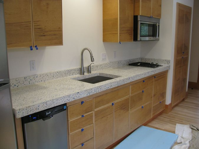 Bone White, Recycled Glass Aggregate Concrete Countertops Alchemy Construction Inc Arcata, CA