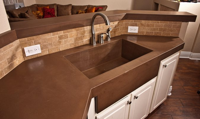 Brown Countertop Concrete Countertops Concrete Wave Design Santa Ana, CA