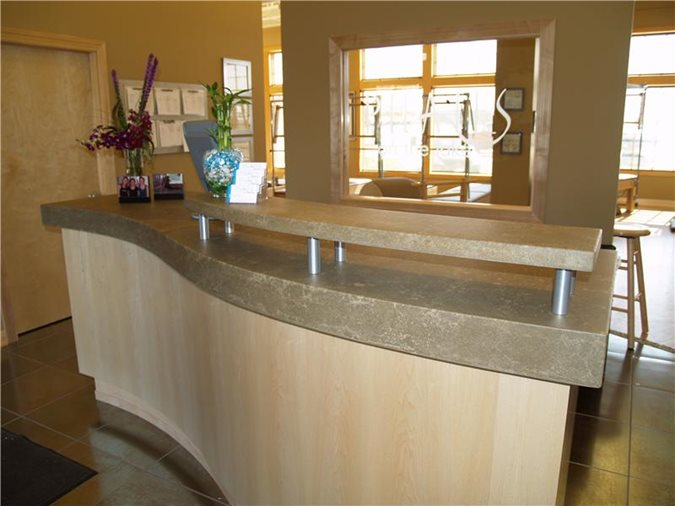 Business, Reception Counter Concrete Countertops Custom Crete Werks LLC Racine, WI
