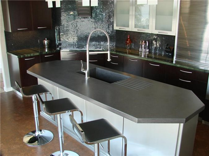 Charcoal Color Countertop Concrete Countertops Pourfolio Custom Concrete San Diego, CA