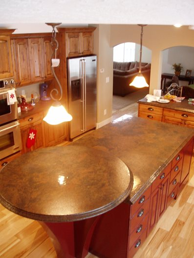 Circular Bar, Brown Granite Concrete Countertops Stone Passion Salt Lake City, UT