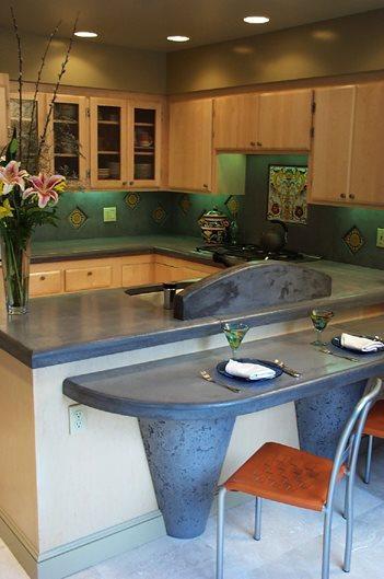 Concrete Countertop Bar, Concrete Cantilever Bartop Concrete Countertops Concrete Interiors Martinez, CA