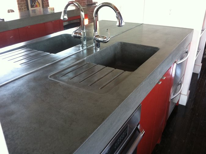 Integral Drainboard Concrete Countertops Artek Refinishing Atlanta, GA